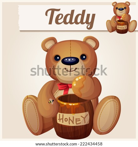 Teddy bear and the barrel of honey. Cartoon vector illustration. Series of children's toys
