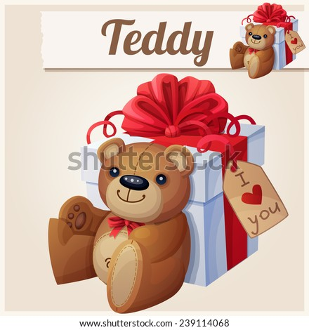 Teddy bear and the big gift box with red bow . Cartoon vector illustration.  - stock vector