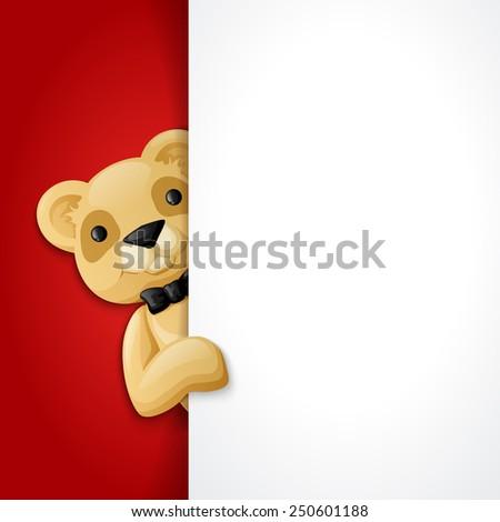 Teddy bear behind blank banner, holiday background vector illustration - stock vector