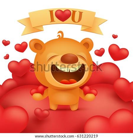 teddy bear cartoon emoji character two stock vector royalty free