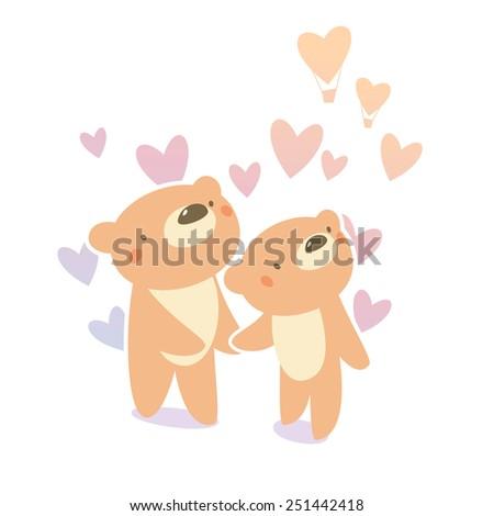 Teddy bear couple in love - stock vector