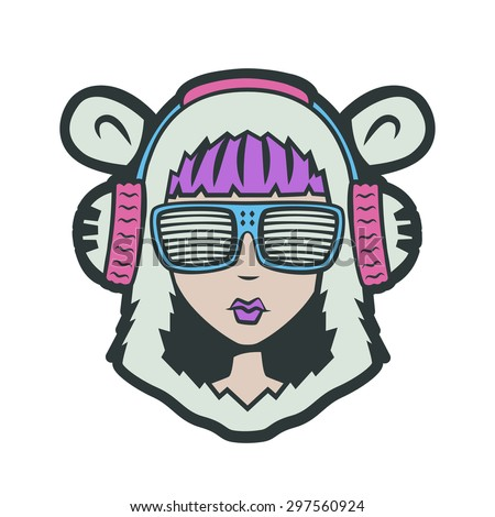 Teddy Bear DJ Girl. Club Dance Style character - stock vector