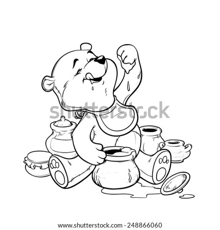 Teddy bear eating honey from the pot. Vector illustration for coloring book - stock vector