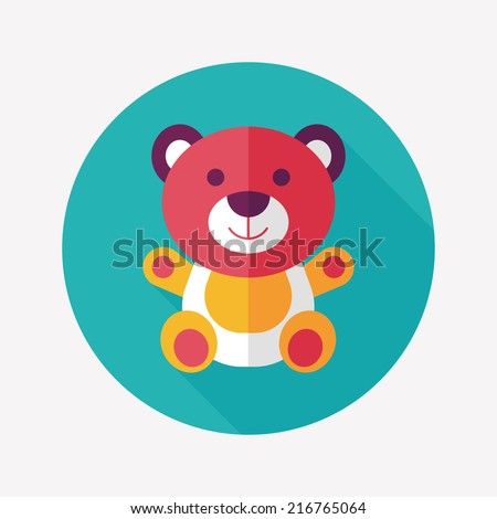 teddy bear flat icon with long shadow,eps 10 - stock vector