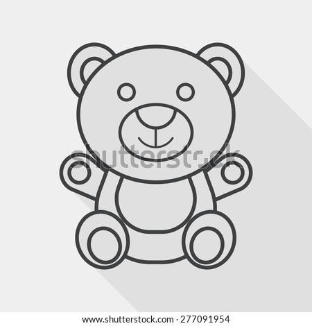 teddy bear flat icon with long shadow,eps 10, line icon - stock vector
