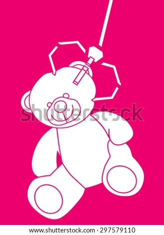 Teddy bear grabbed by a machine arm - stock vector