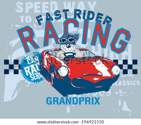 teddy bear grandprix racer - stock vector