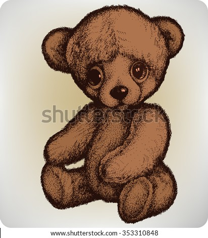 Teddy bear, hand drawing, vector illustration. - stock vector