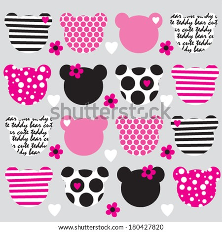 teddy bear head pattern background vector illustration - stock vector