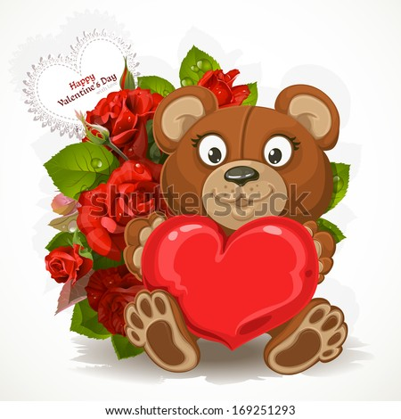 Teddy Bear Holding A Heart With A Bouquet Of Flowers And Valentine