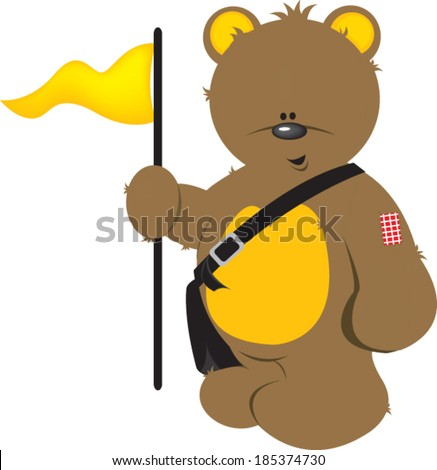 teddy bear holding flag
