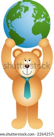 Teddy bear holding globe  - stock vector