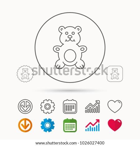 Teddybear Icon Baby Toy Sign Plush Stock Vector 1026027400