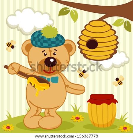 teddy bear near beehive - vector illustration - stock vector