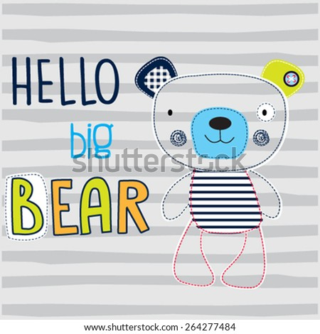 teddy bear on striped background vector illustration - stock vector