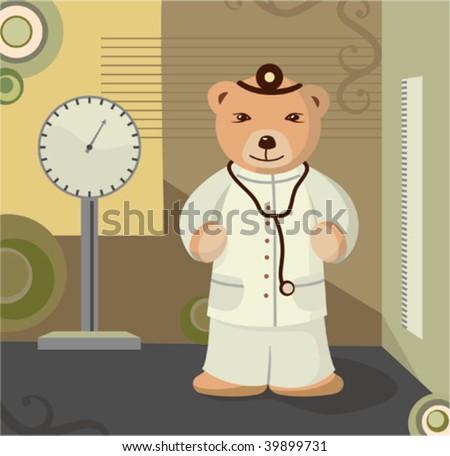 Teddy Bear Pediatrician Background - stock vector