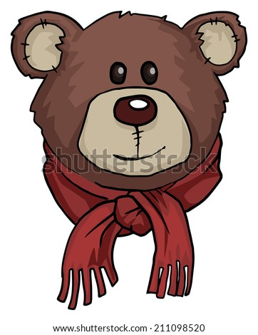 Teddy bear portrait, with warm red scarf, vector illustration - stock vector