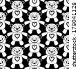 Teddy Bear Seamless Pattern - Monochromatic - stock vector
