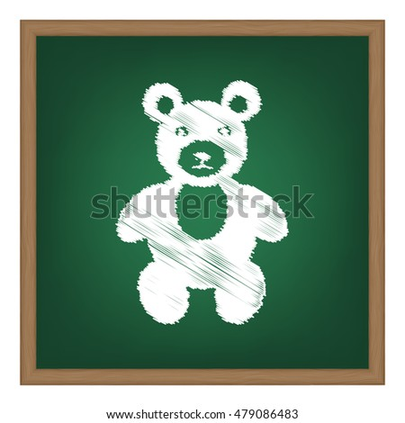Teddy bear sign illustration. Flat style black icon on white.
