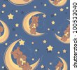 Teddy bear sitting on a moon and holding a star for sweet dreams seamless textile pattern - stock photo