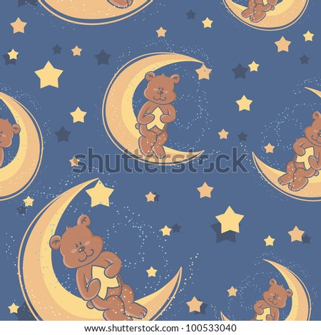 Teddy bear sitting on a moon and holding a star for sweet dreams seamless textile pattern - stock vector