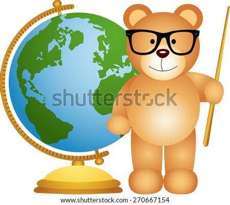 Teddy bear teacher with globe - stock vector
