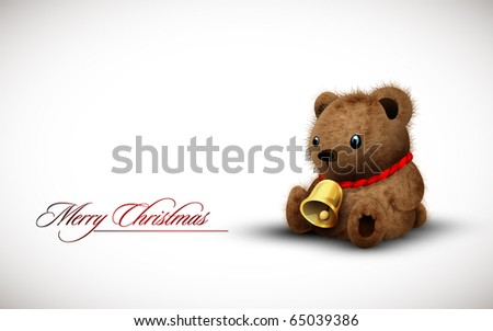 Teddy Bear wearing a Golden Bell as Necklace wishes you a Merry Christmas | Vector Illustration - stock vector