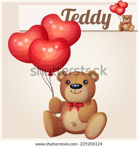 Teddy bear with heart balloons. Cartoon vector illustration.  - stock vector