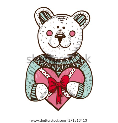 Teddy bear with heart present. Sketch vector design element for Valentine's day