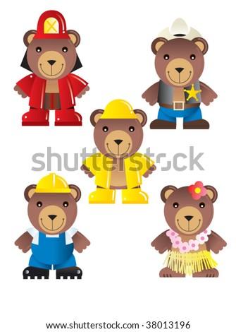 teddy icon set - stock vector