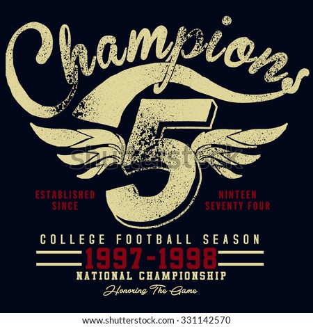 tee graphics,champions college team graphics,vintage sport graphics for t-shirt - stock vector