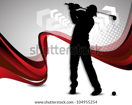 Tee Shot, silhouette of a golfer on creative wave, arrow and dotted grey background. EPS 10. - stock vector
