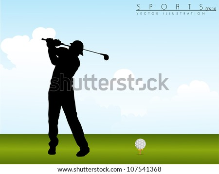 Tee Shot, silhouette of a golfer on green grass background. EPS 10. - stock vector