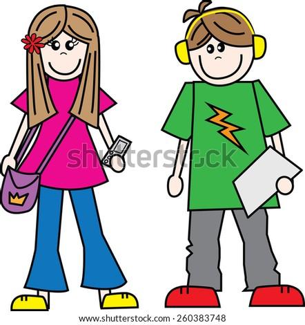 teen boy girl friend couple - stock vector