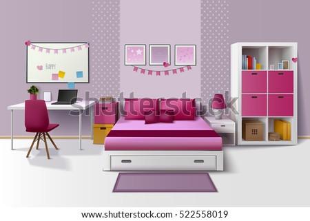 Teen girl room modern interior design stock vektorgrafik