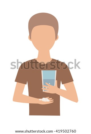 Teenage boy and pills. Suicide pills vector concept and boy suicide pills. Suicide pills overdose, health, addiction and suicide pills pharmacy, pain. Tablet hand sickness cure prescription dosage. - stock vector