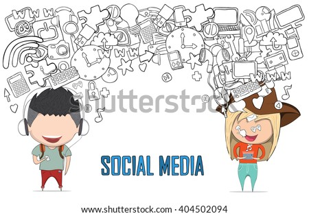 Teenage girl and boy wearing hat playing with phone happy template design thinking idea with social network icons background. Drawing by hand vector. Social network background with media icons. - stock vector