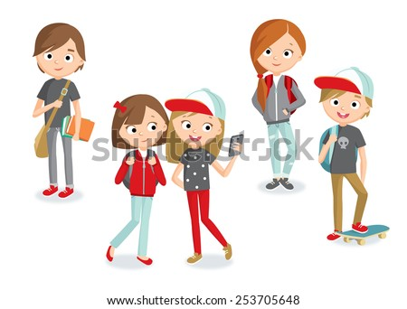 teenage girls and boys - stock vector