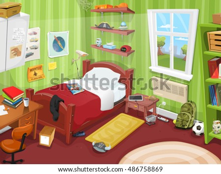 Teenager Bedroom With Object Illustration Of A Cartoon Kid Or Boy