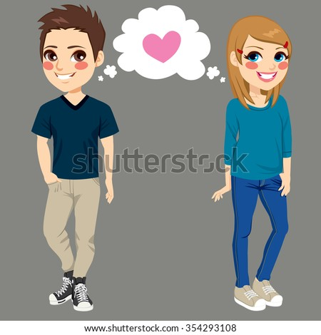 Teenager boy and girl secretly in love side by side making eye contact and falling in love together - stock vector