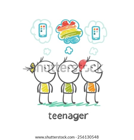 teenager boy dreams of a rainbow when near the other teenagers dream of mobile illustration - stock vector