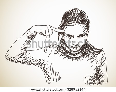 Teenager girl gesturing with her finger against temple, Vector sketch, Hand drawn illustration - stock vector
