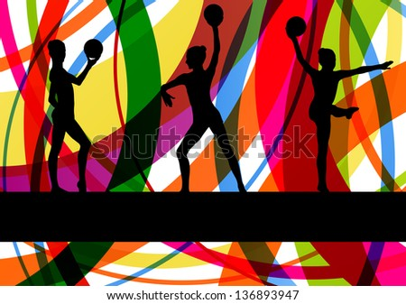 Teenager gymnast with ball vector background
