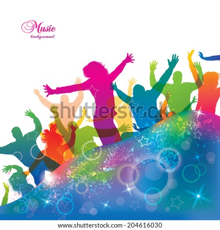 Teenager lifestyle. Young dancing people. - stock vector