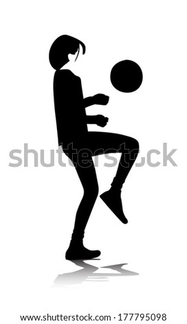 teenager playing with ball vector illustration