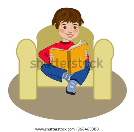 Teenager sitting on a chair reading - stock vector