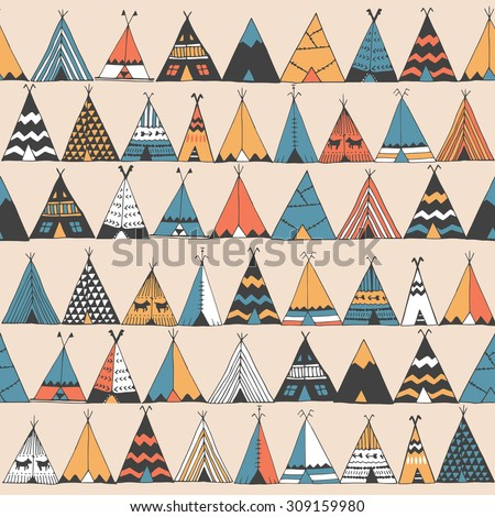 Teepee pattern. Wigwam native american summer tent illustration in vector. Indian background pattern  sc 1 st  Shutterstock & Teepee Pattern Wigwam Native American Summer Stock Vector ...