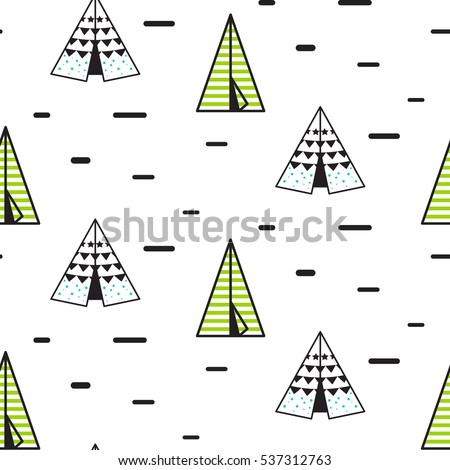 Teepee tent vector seamless pattern for children. Indian wigwam background for kid fabric and apparel  sc 1 st  Shutterstock & Teepee Tent Vector Seamless Pattern Children Stock Vector ...