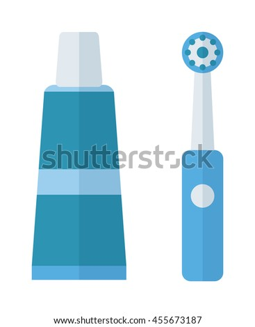 Teeth and Tooth brush modern vector illustration