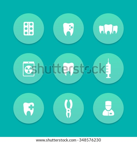 Teeth aquamarine icons, dental care, tooth cavity, toothcare, stomatology, vector illustration - stock vector
